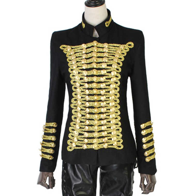 Barocco 독특한 활주로 패션 락 펑크 자켓 여성용 울 혼합 골드 버튼 육군 나폴레옹 자켓