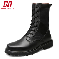 Plus Size 37 50 Winter Genuine Leather Boots Men Mid Calf Lace Up Warm Plush Army Military Combat Boots For Mens Military Shoes
