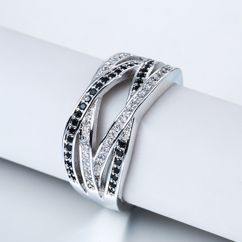 luxury cross white black zircon promise Rings new women jewelry silver plated princess lady black cz wedding Engagement Ring