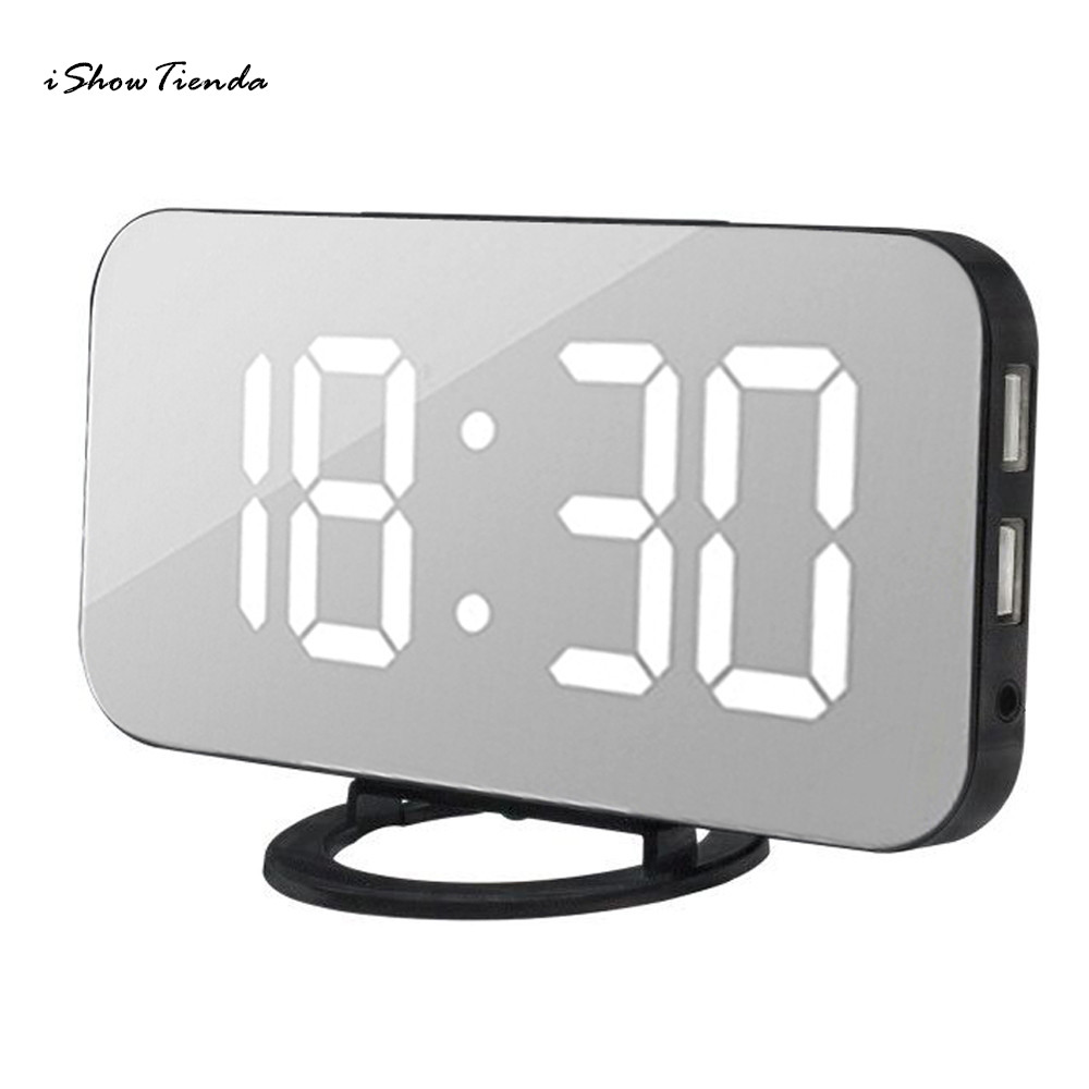 1Pc 5V 158*55*77Mm 12/24 Hour Modes LED Digital Alarm Clock With USB Port For Phone Charger Touch-Activited Snooze