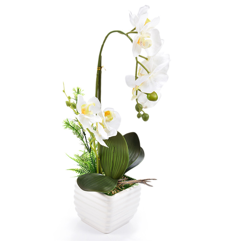 1set Silk Real Touch Home Decor Artificial Phalaenopsis Orchid <font><b>Flower</b></font> Arrangement Small Bonsai Plants with Ceramic <font><b>Flower</b></font> Pot