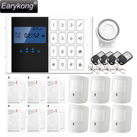 DHL Free Shipping English Russian Spanish French Voice Wireless GSM Alarm System Home Security Alarm LCD