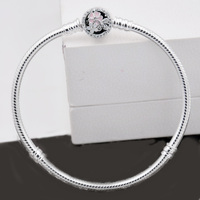 Authentic 925 Sterling Silver Bracelet Poetic Blooms Clasp Snake Chain Bracelet Bangle Fit Women Bead Charm
