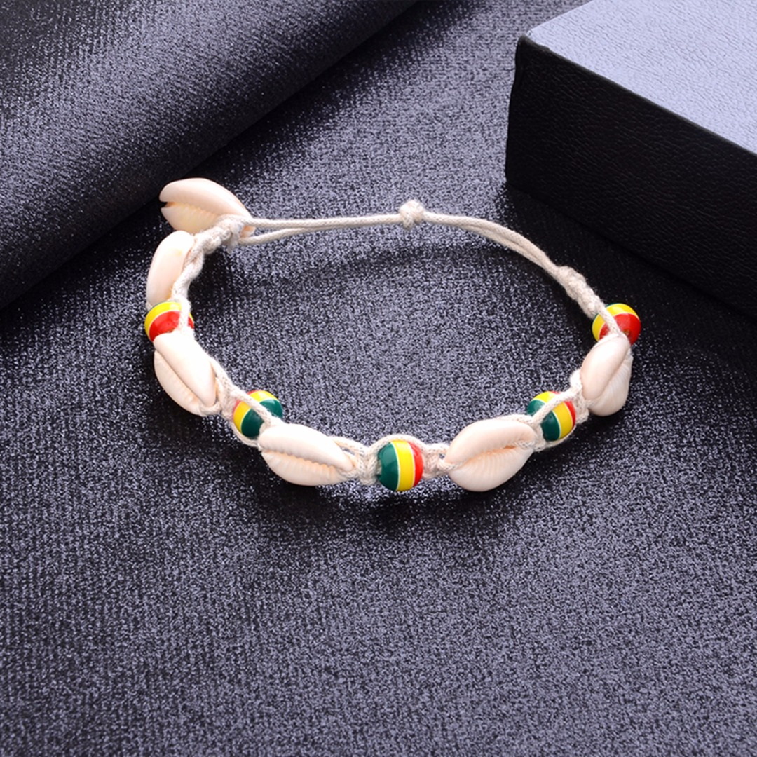 Sainio Bohemian Rope Bead Ankle Bracelet Natural Shell Anklet Chain Women Summer Beach Holiday Accessories Foot Jewelry Gift