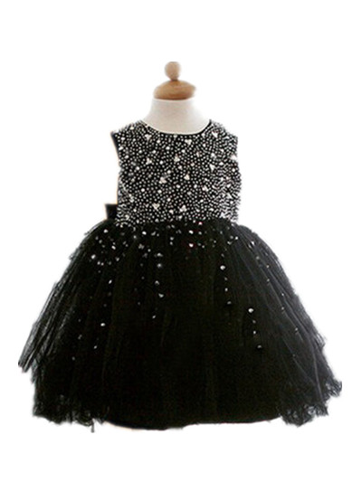 BABY WOW New Baby Girl Black Dress Decorated with Diamonds Party Dress for First Birthday Infant
