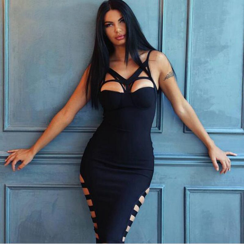 2017 Sexy Black Party Bandage Dresses bodysuit 2017 sleeveless special occasion prom cocktail party dresses china cheap dress