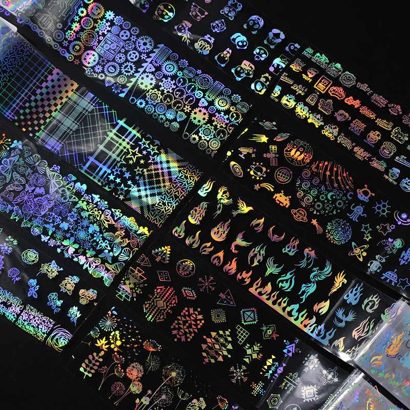 4*100 Cm/Hologram Susuk Foil Api Dandelion Panda Bambu Holo Kuku Seni Transfer Sticker Air Slide nail Art Stiker