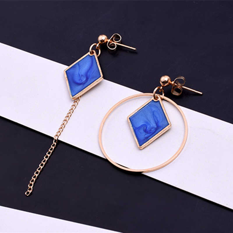 E0340 Fashion Jewelry Rhombus Geometry Shape Asymmetric Drop Earrings For Women Blue White Statement Earrings Exquisite Gift