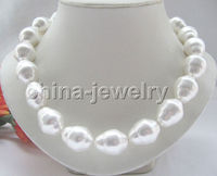 P4684 18 16mm natural white baroque shape south sea shell pearl necklace GP