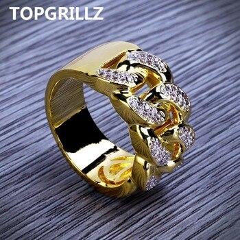 98c50d09f116 TOPGRILLZ Hip Hop anillo Rock joyería Bling todo helado Micro Pave Cubic  Zirconia cubano cadena anillo para hombres regalo