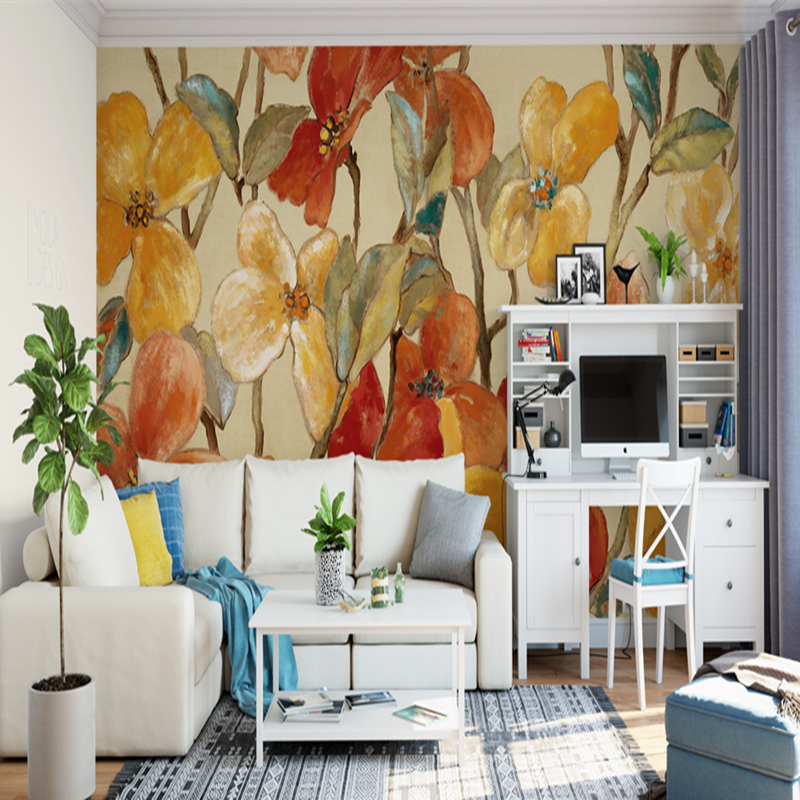 Photo Custom 3D Wallpaper European Style Retro Hand-Painted Floral 3D Abstract Mural Wallpaper for Living Room Coffee Shop Mural beibehang custom 3d wallpapers hand painted retro nostalgic abstract oil painting flowers landscape european style wallpaper