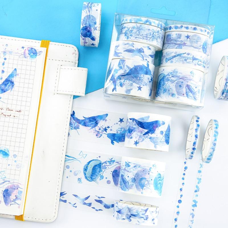 8 Pcs/pack Pink Girl Sakura Whale Washi Tape Adhesive Paper Tape DIY Scrapbooking Sticker Label Craft Masking Tape
