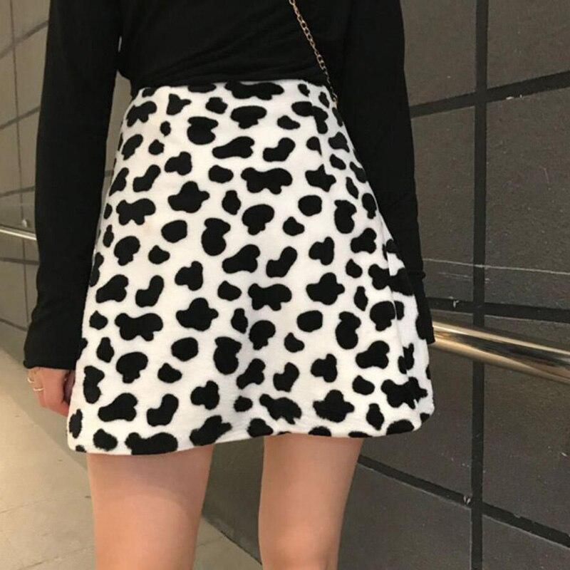 Spring Omighty Cow Print Unif Harajuku Streetwear Mini Skirt Women High Waist Faldas Short Jupe Femme  A-Line Camo Skirts