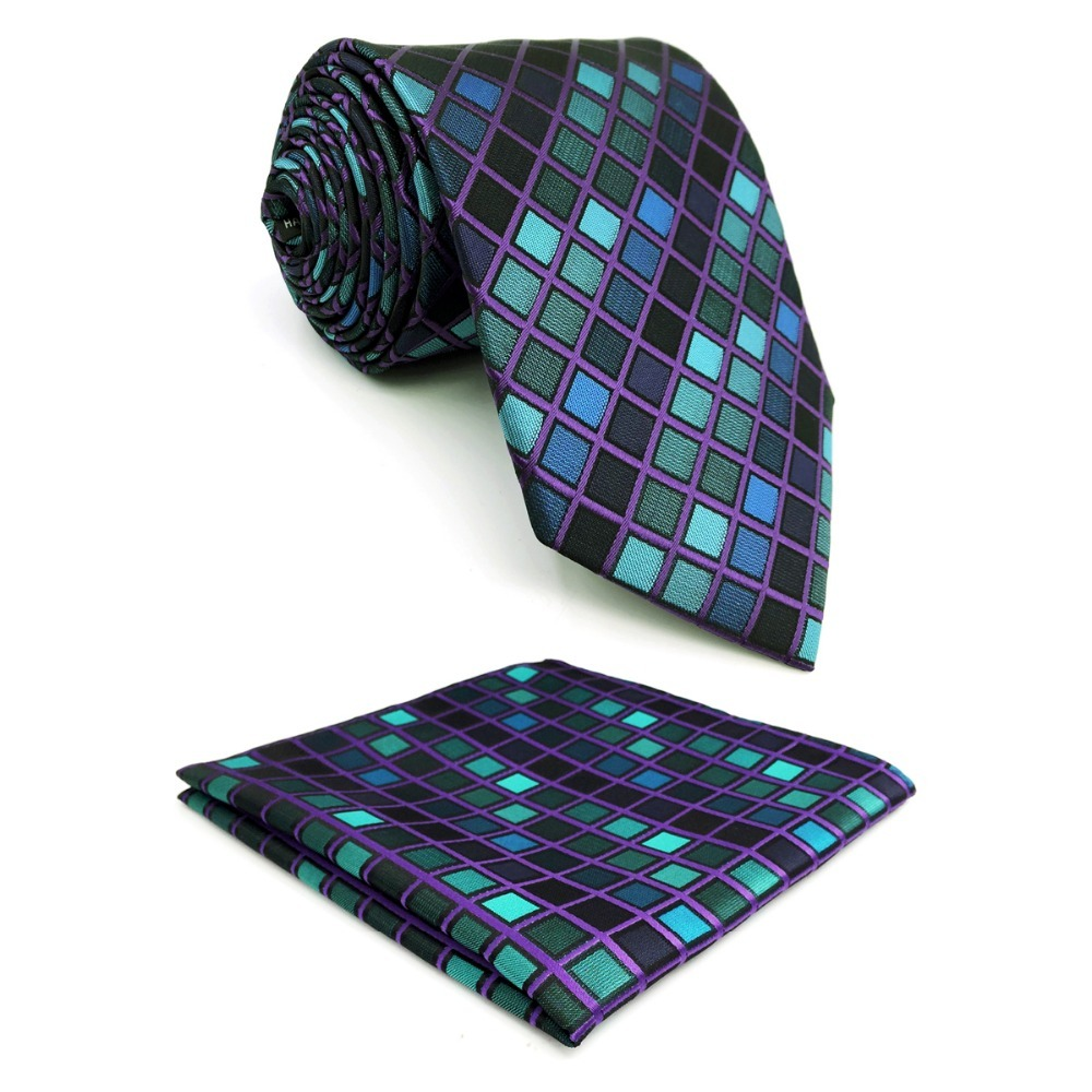 D10 Multicolor Checkes Mens Necktie Silk Novelty Wedding Extra long size 63 Classic Ties for male Fashion Hanky