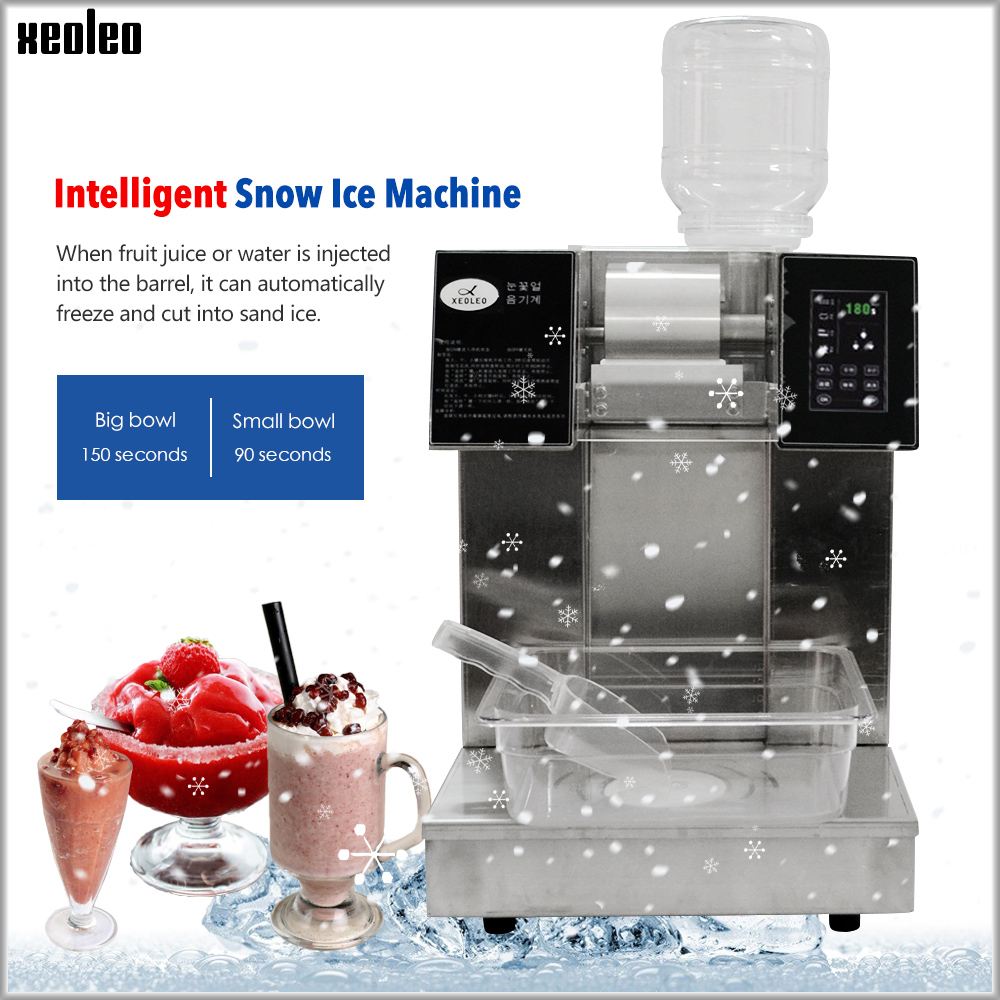 XEOLEO Snowflake Ice Machine Snow Cone Maker Ice Crusher Commercial Stianless Steel Water-cooled Crushed Ice Machine 220V