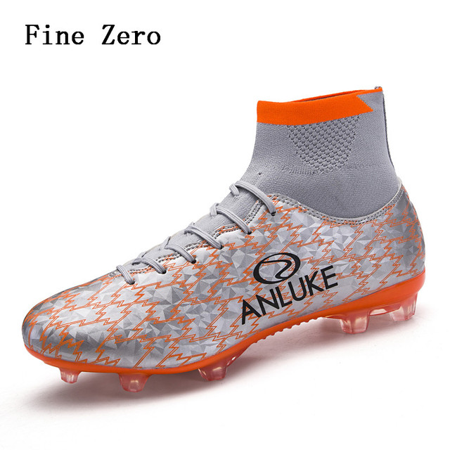 434de94f70a 2018 New Men s Adult High Top Long Spike Socks Soccer Shoes Strong Grip  Rubber Outsole Comfortable Breathable Inside Light Shoes