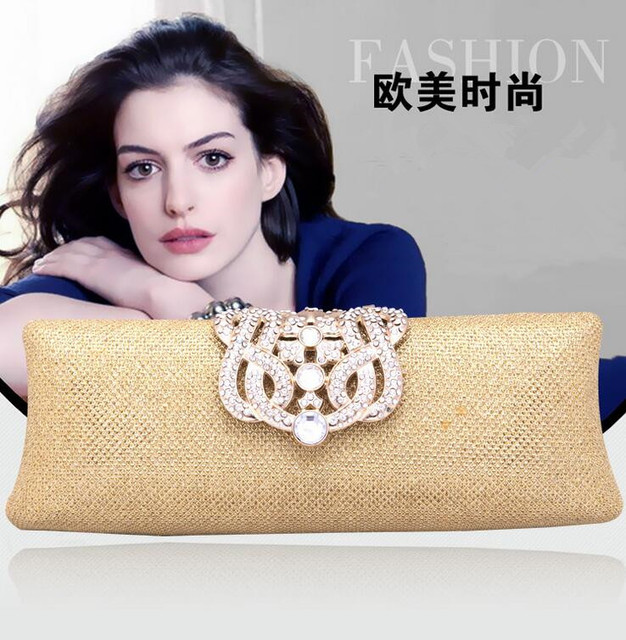 Women fashion evening bag Hard gold color girl party purse silver bridal Day clucth bag lady Casual Clutch wedding purse