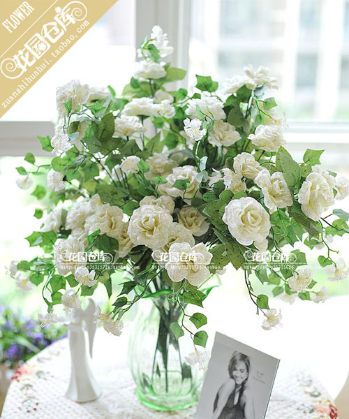 Hot Sell Home Decoration Wedding Rose Flower White Artificial Silk