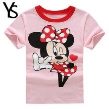 3-7T Little Girls T Shirt Summer Short Sleeve Cartoon Mine Cute Tops Pullovers KT Cat Pink Pink T-Shirt Kids Children Clothing