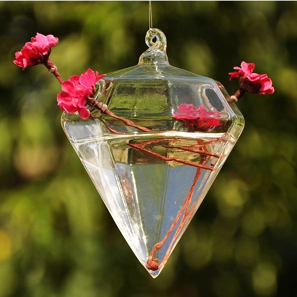 Новый Ясный Стекло diamond Форма цветок РП висит ваза гидропоники Контейнер Главная Свадебный декор восхитительный