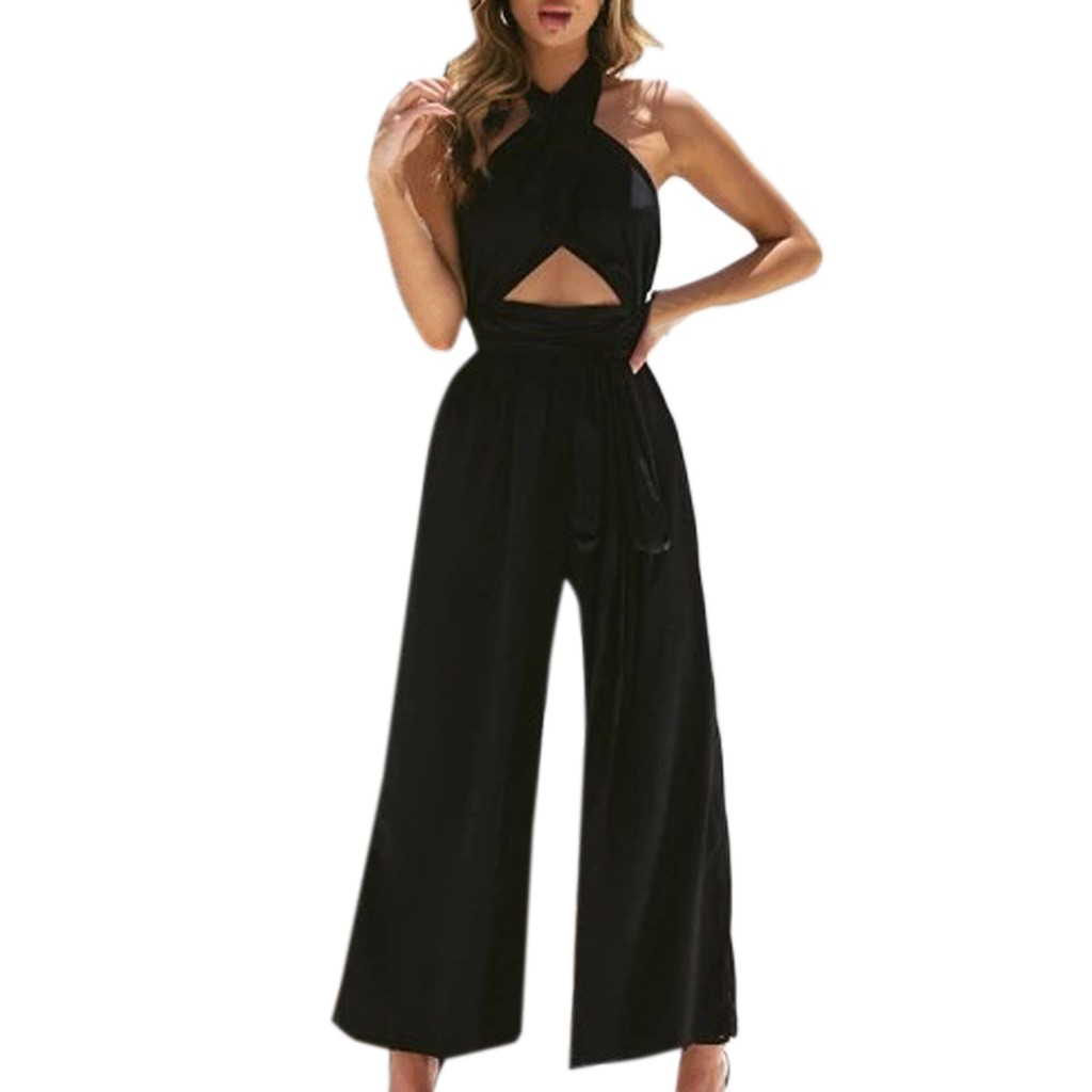 Womail  long rompers women formal jumpsuits elegant cross neck halter Holiday Wide Leg Pants Long Jumpsuit Backless Strappy