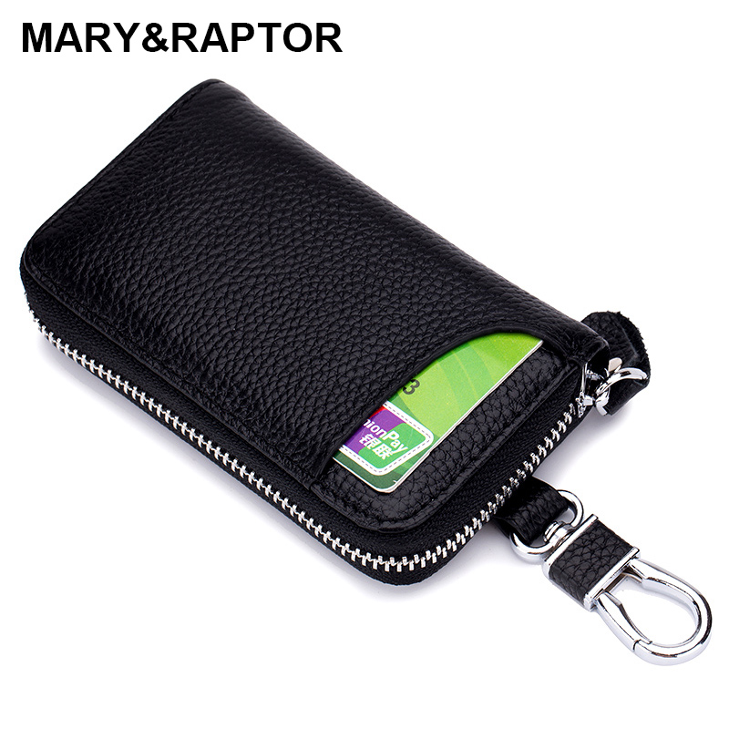Multifunctional Genuine Leather Wallet Key Holder Case Keychain Bag Zipper Purse