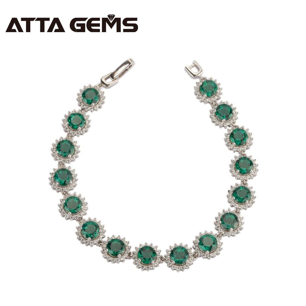 Зеленый Изумрудный серебряный браслет 16 карат создания Изумрудный Круглый 6 мм Для женщин Мода 925 пробы серебро классический браслет