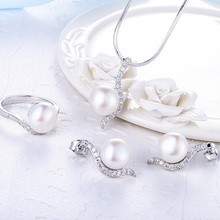 Starland 2016 New 925 Sterling Silver Women Pearl Jewelry Sets Necklace Pendant British buckle Earring Ring