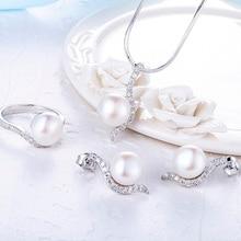 Starland 2016 Новый Стерлингового Серебра 925 Женщины Перл Ювелирные Наборы Ожерелье & Британский пряжки Серьги, Кольцо Свадьба подарок