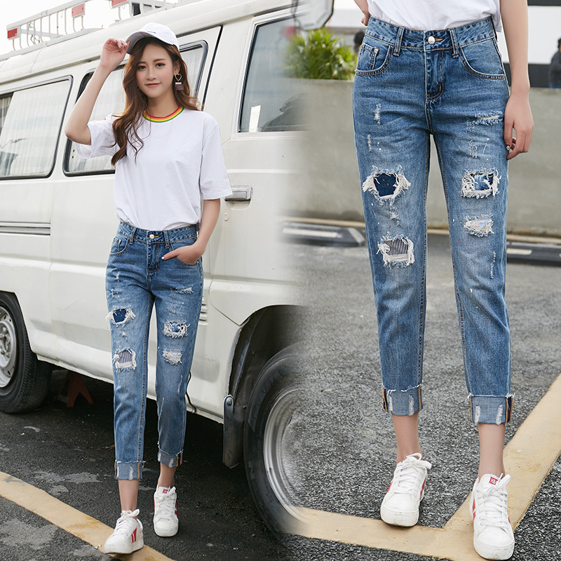 2019 Spring and Summer Korean Women's Hole Patch Nine Points   Jeans   Fashion Women's Feet Pants BW72