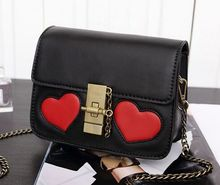 Red heart-shaped retro buckle chain shoulder Messenger bag,lady women love cute playful flap crossbody bags