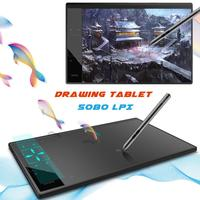 10*6 Inch A30 Graphic Tablet 8192 Levels Digital Tablet Drawing Tablet 5080 LPI Tablet No Needing Charge Pen Keyboard