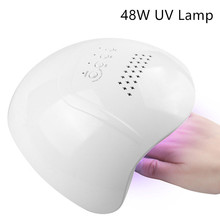 цена на 1Pc 48W Nail Art UV Lamp Nail Dryer 24 LEDS 10s/30s/60s/99s Curing Gel Polish With DC Adapter Nail Art Drying Machine