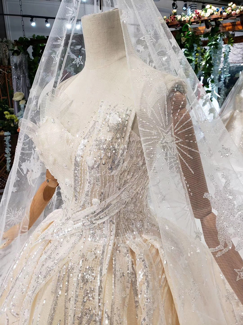 HTL388 boda special strapless wedding dress with wedding veil sleeveless sexy princess bridal dresses shiny robe de mariage 2019 (7)
