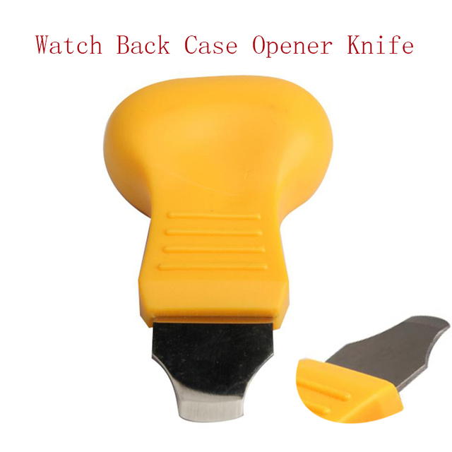 1pcs Portable 76x45mm Watch Back Cover Case Opener Knife Remover Battery Change Watchmaker Repair Tool Yellow Color