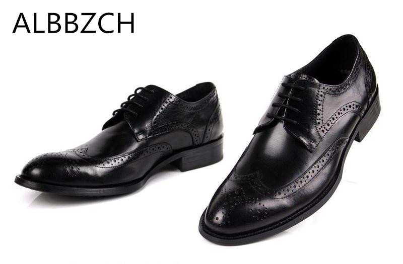 Rojo Oficina 3 Nuevos Negro Marrón Del Trabajo Genuino 2 4 Vestido 1 44 Cuero La Boda De Los Zapatos Brogue Hombres Tallado Negocios Blanco qTvxpq7B