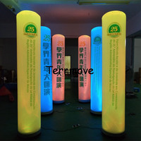 inflatable column with RGB lighting(Black base)Advertising led inflatable pillar/inflatable cone column for advertising