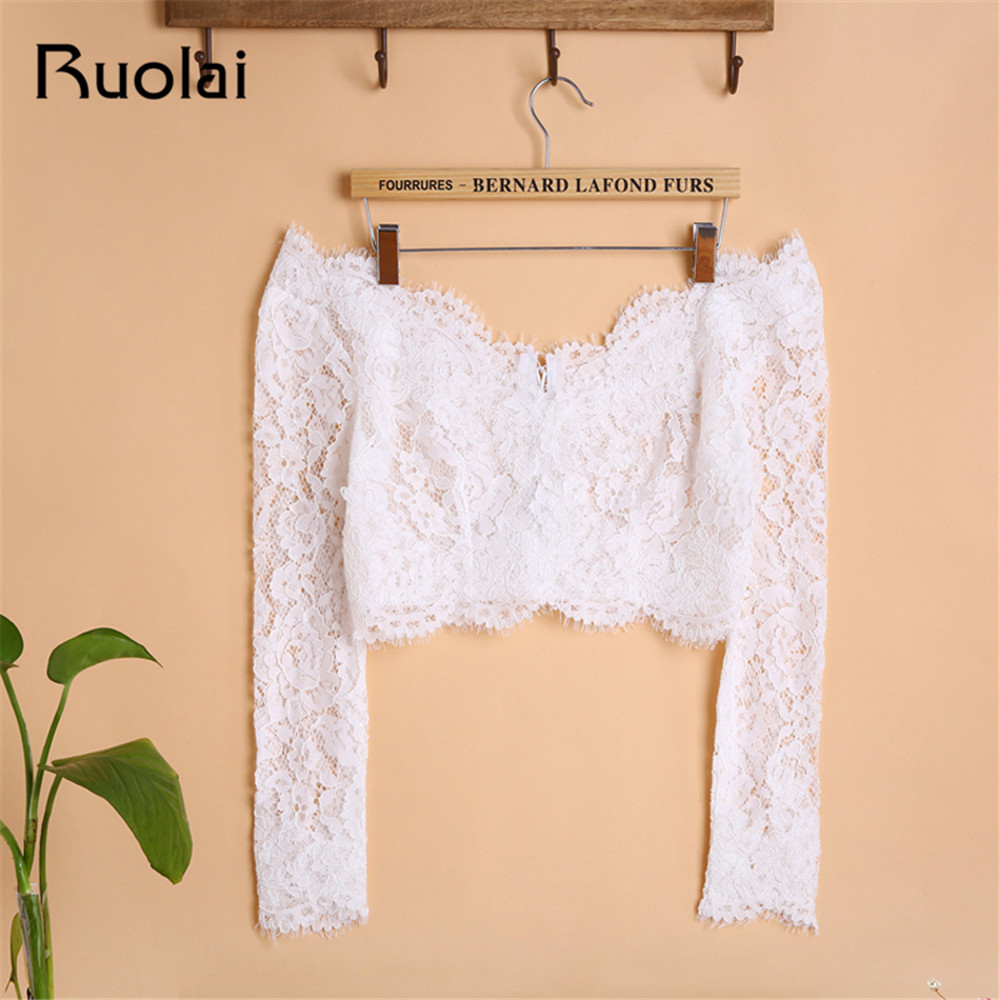 Elegant Off The Shoulder Sleeves Lace Bolero Jacket Romantic Custom Made Bridal Wedding Jackets 2019 Women Wedding Jackets FJ12