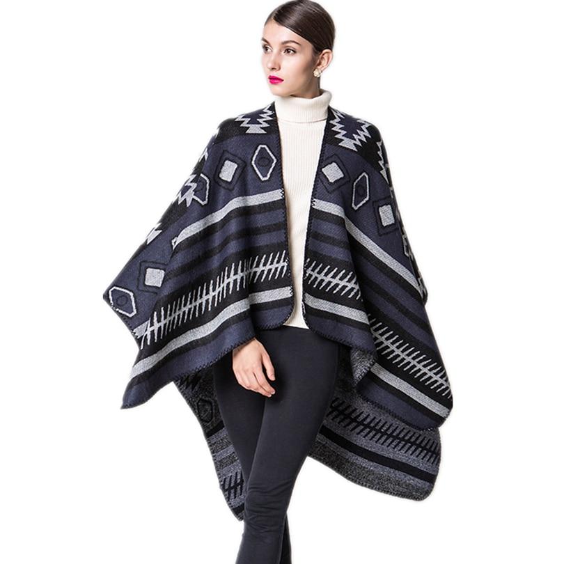 2017 marque femmes écharpe d hiver ponchos et capes châle femme vintage  dames wraps tricot pashmina femme Couverture poncho manteau 986cdfb8ec5