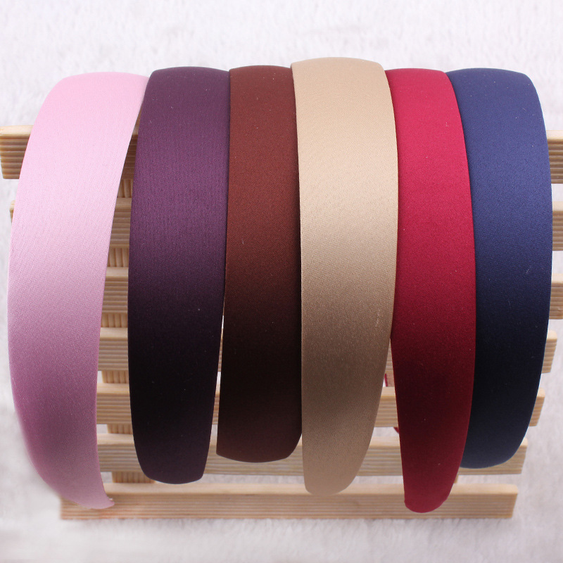 Hot Sales 1PC Plastic Fashion Wide Headband Solid Bezel Hairbands Satin Covered Hair Accessories For Woman Girls