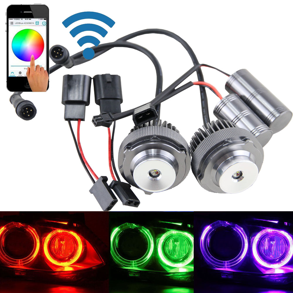 1 Pair Wifi Controller RGB Led Angel Eyes For BMW 2008-2010 E60 E61 LCI Error Free CREE Chip Angel Eyes Halo Ring Marker Bulbs 1 pair 12w h8 led bulbs angel eyes halo light bulbs marker headlight for bmw e60 e82 e87 e90 e92