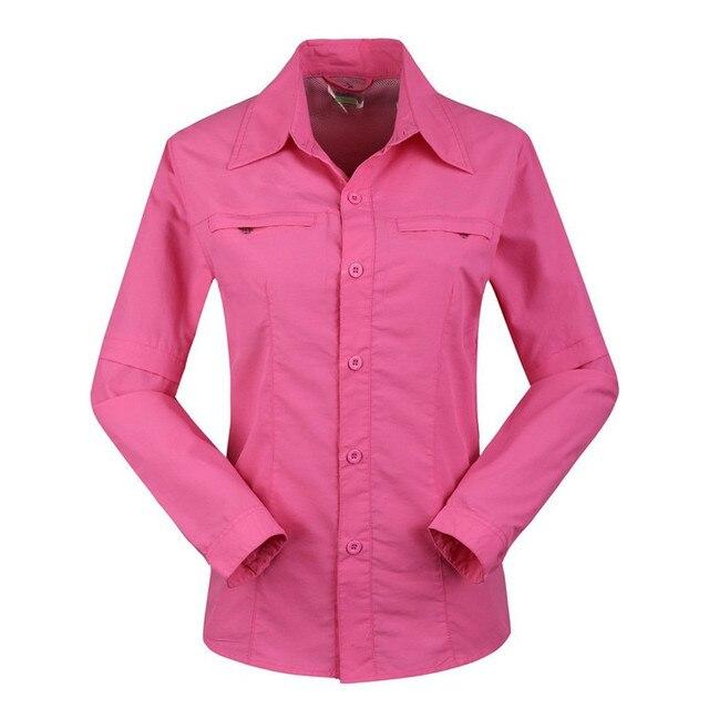 Summer Autumn Women's Convertible Shirts Quick Dry Casual Long Sleeve Zipper Off Shirt Breathable Waterproof Female Tops