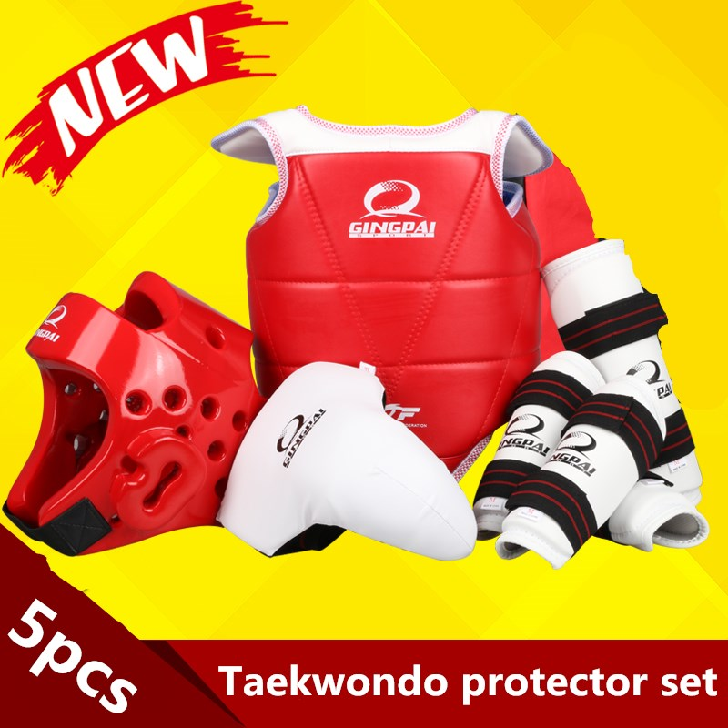 5 Pcs WTF approved Taekwondo protectors suite Helmet chest shin arm guards Child Taekwondo headgear MMA kick body hugo Helmets taekwondo protective gear set wtf hand chest protector foot shin arm groin guard helmet 8pcs children adult taekwondo karate set