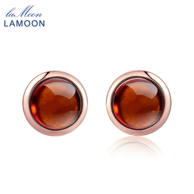 LAMOON Classic 6mm 1.1ct 100% Natural Red Garnet 925 Sterling Silver Jewelry  Stud earrings S925 LMEI022