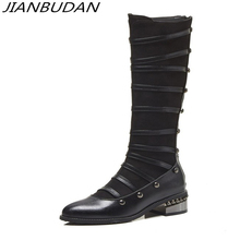 JIANBUDAN/ Fashion rivets Knight boots women's High quality material winter motorcycle boots High boots black Brown Size 34-44 цена в Москве и Питере