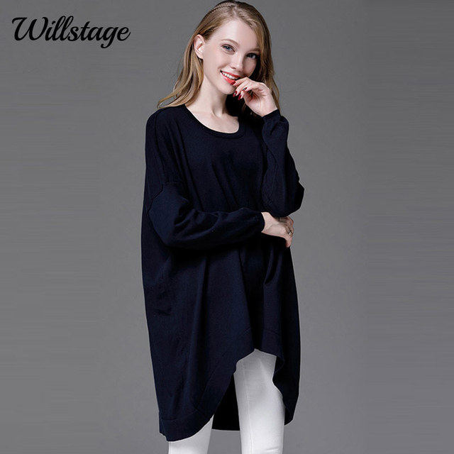 55a01219d7a Willstage Plus size 4XL Sweater Women Full Sleeve Irregular Long Knitted Tops  Oversize Pullover Blue 2018 Spring Winter Clothing