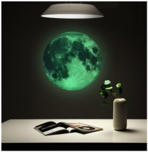 30cm Luminous Moon DIY 3D Fluorescent Wall Stickers Childrens Room Bedroom Mural Dark Home Decoration