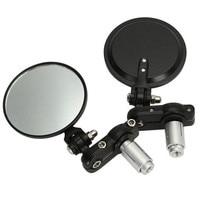 Black 2x Universal Adjustable Motorcycle Rearview Mirror 7 8 22mm Handlebar End Motocross Motorbike Scooter Bicycle