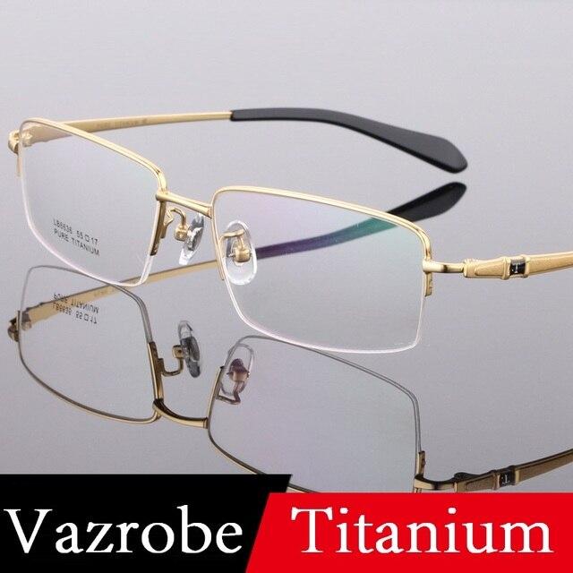 da47257c9ce Vazrobe Titanium Glasses Frame Men (150mm) Wide Eyeglasses High Quality  Frames for Male Prescription Myopia diopter Eyeglass Man