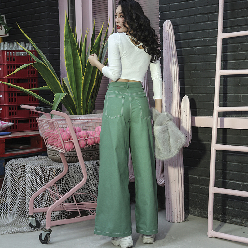 Automne 2018 Jambes Mince Vert Basique Pantalon Vintage Haute Élégant Essentiel Jeans Denim Femmes Larges Taille À Type RqrdqSfwx